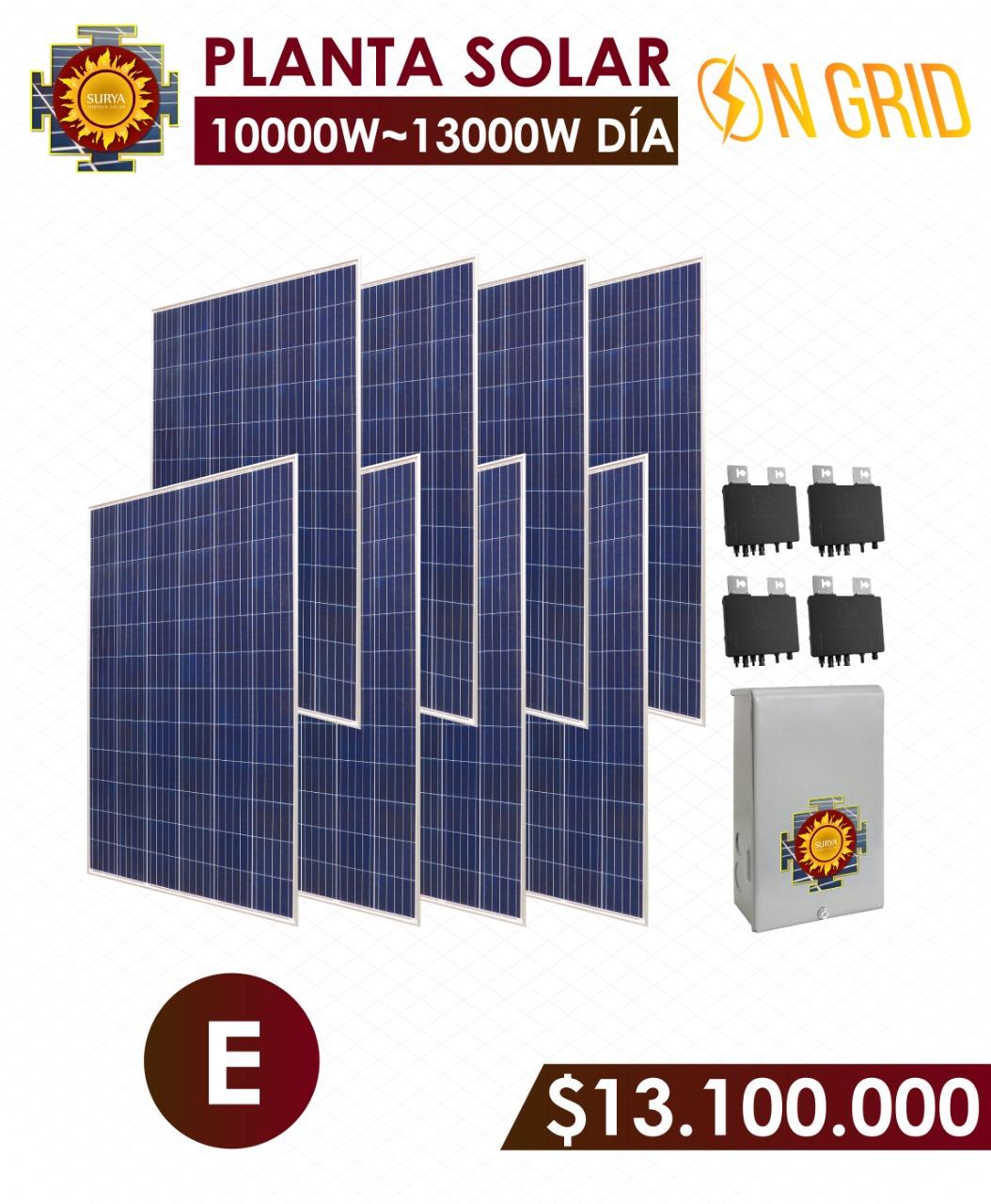 planta solar inyeccion a la red 10000 watts a 1300watts al dia