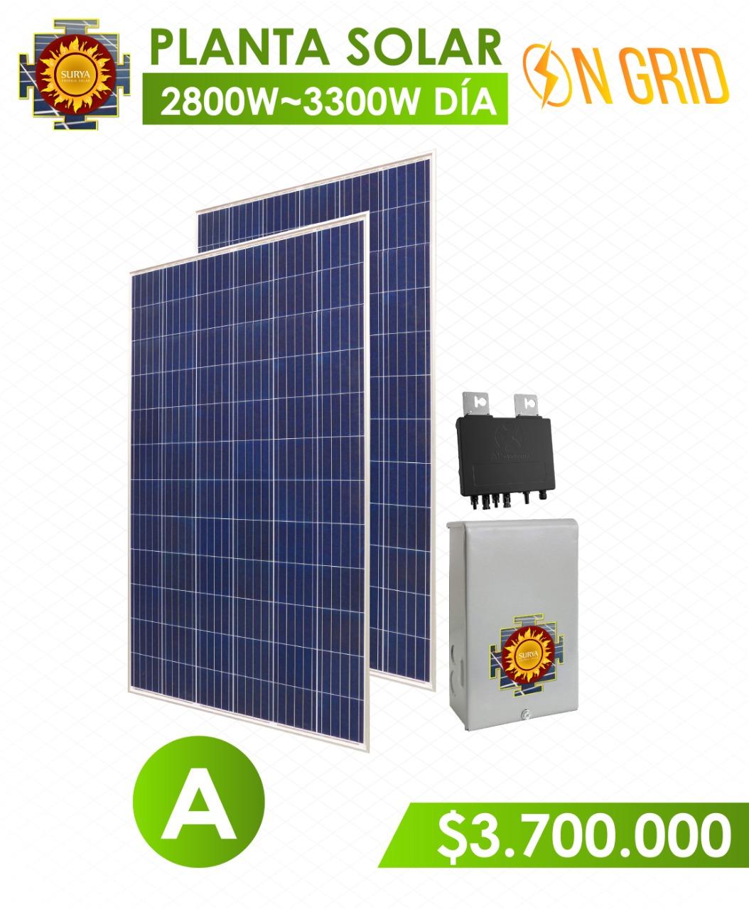 planta solar inyeccion a la red 2800 watts a 3300watts al dia