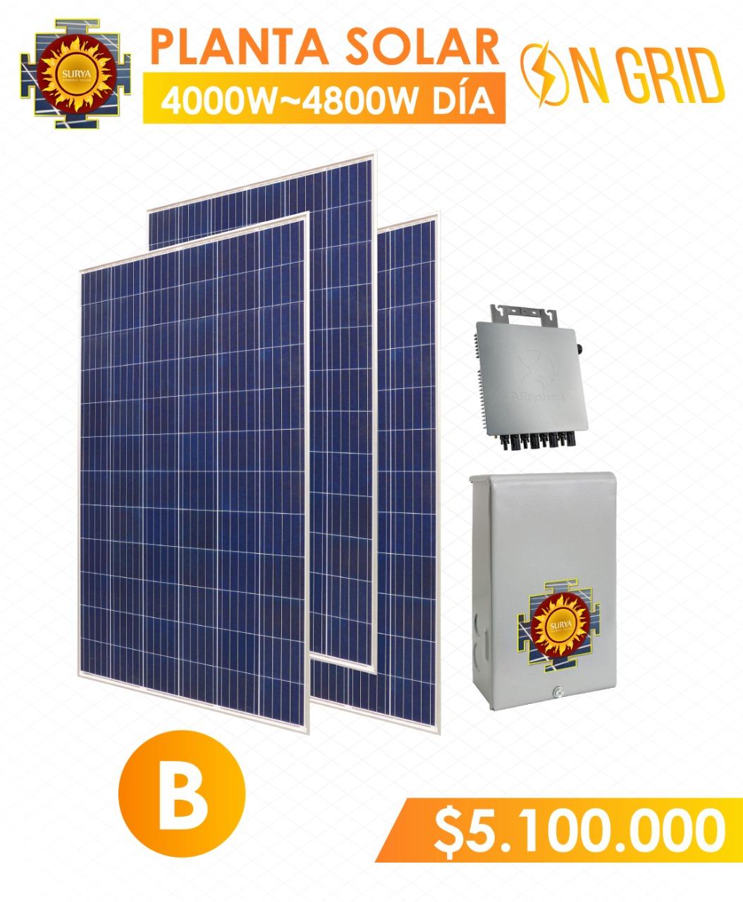 planta solar inyeccion a la red 4000 watts a 4800watts al dia