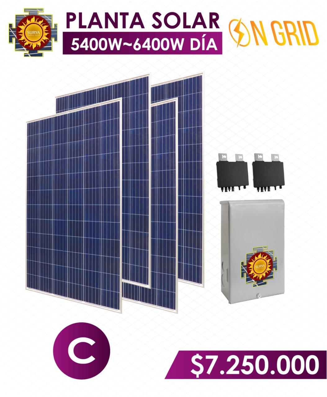 planta solar inyeccion a la red 5400 watts a 6400watts al dia