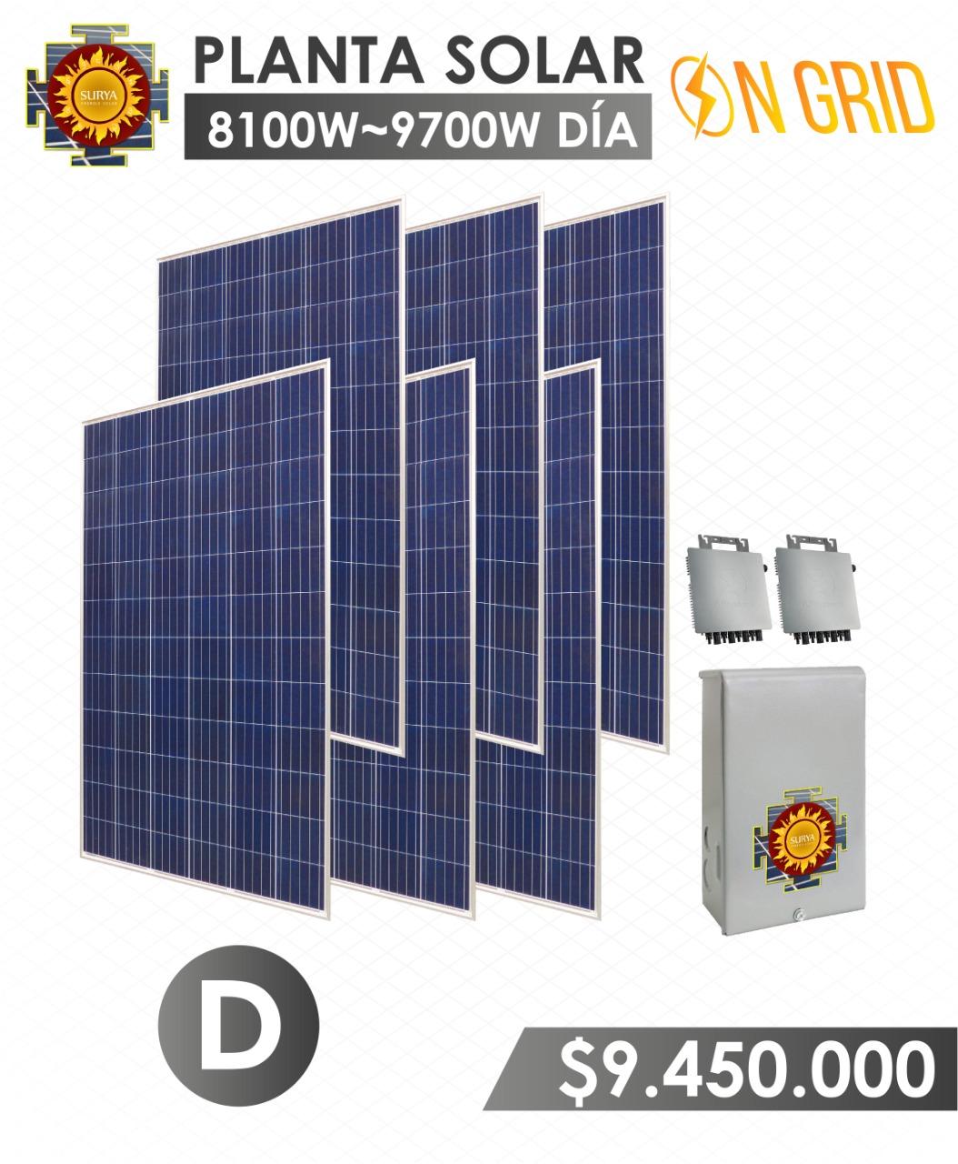 planta solar inyeccion a la red 8100 watts a 9700watts al dia
