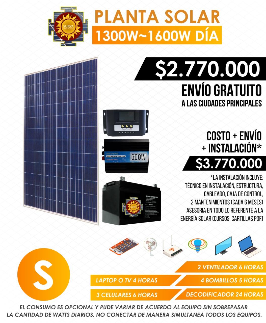 Planta solar autonoma 1300w a 1600w