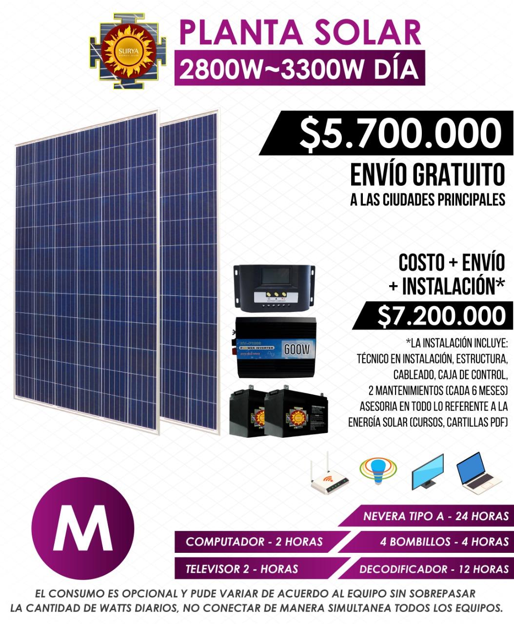 Planta solar autonoma 2800w a 3300w